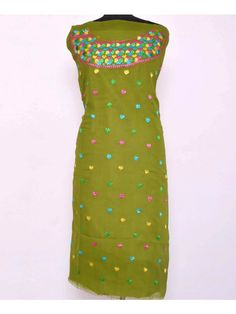 Georgette Phulkari Kurti  - Handicraft Phulkari Kurti is made on Georgette Metrial    - This  is Hand emrbroidered with thread of Pat, which makes it more beautiful.    - Product Cloth is Georgette Length is 2.5 Meter. Can be made length upto 42. & Size 50. This is Unstitched Kurti    - You can also get this kurti sticthed with only Rs.100/- extra charges    - Dry Clean/Soft Wash  Shop Now ; https://www.punnjab.com/green-georgette-phulkari-kurti-jkgp1238