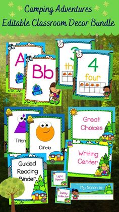 Check out my Camping Adventures Editable Classroom Décor Bundle features all you need to create a fresh new look for your classroom this fall! Check out the preview for a quick look at this colorful theme. My Camping Adventures Classroom Décor Bundle features my ENTIRE Camping Adventures collection including several editable features! #teacherspayteachers #tpt Classroom Décor, Classroom Posters, Classroom Organization, Classroom Management, Class Management, Teaching Kindergarten, Teaching Resources, Classroom Resources, Teaching Ideas