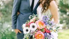 Boho bouquet with coral, pink, white, purple flowers | Sacred Mountain Julian San Diego, CA