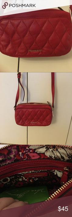 Red genuine leather cross body bag Never been used. Feel free to make an offer Vera Bradley Bags Crossbody Bags
