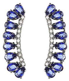 ear cuff zirconias azuis e rodio