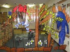 reggio children, forest mural as room divider