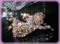VINTAGE STYLE AURORA BOREALE CHERUB ANGEL BROOCH PIN on eBay
