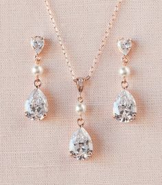 Bridal Jewelry SET Rose Gold Wedding jewelry by CrystalAvenues