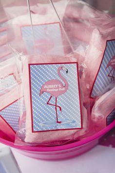 Cotton Candy party Favor from a Flamingo Pool Party via Kara's Party Ideas KarasPartyIdeas.com