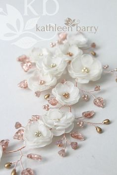 handmade to order - color options available - rose gold, pale gold or silver with your flower color choice - multiple styling options Floral Wedding Hair, Bridal Hair Flowers, Wedding Headband, Crown Headband, Hair Wreaths, Hair Vine, Wedding Hair Accessories, Fabric Flowers, Rose Gold