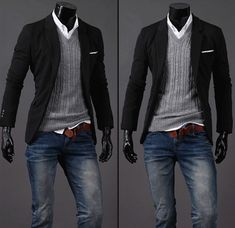 Jeans, sweater and casual blazer pairing.