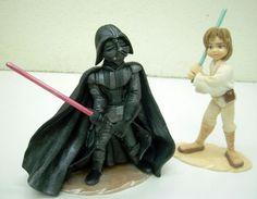 Darth Vader and Luke Skywalker figures in marzipan