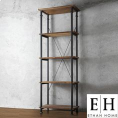 @Overstock - This Myra Bookcase has a weathered and timeworn patina allowing traces of natural wood and original colors to show through. The frame is made of black sand metal with each shelf providing storage for books, magazines and other decorative accoutrements.http://www.overstock.com/Home-Garden/ETHAN-HOME-Myra-Bookcase/6743626/product.html?CID=214117 $247.09