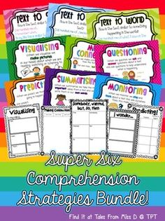 Includes both British and American Spelling Versions  This BUNDLE provides you with everything you need to kickstart the Super Six Comprehension Strategies in your classroom! SAVE 20% BY BUYING THESE AS A BUNDLE!  1. Super Six Comprehension Strategies Posters: a poster for each strategy  2. Making Connections Thinking Stem Posters: one poster for each connection  3. Super Six Comprehension Strategies Activities: 34 activities + 1 resource to use with the 6 strategies.