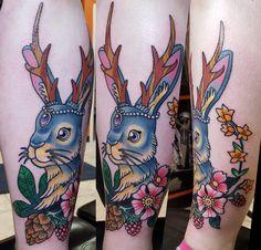 Jackalope done by nick droomer, blackball tattoo, Midland mi from reddit user rum4hm