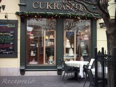 pastry shop/coffee house at christmas time in gyor, hungary Pastry Shop, Homeland, Ancestry, Hungary, Budapest, Christmas Time, Coffee Shop, Celebrations, Pride