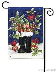BreezeArt Garden Flag Santa s Boots Christmas NEW