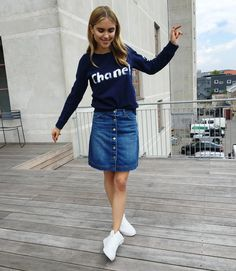 """Go blue when the clothing crisis hits you!"" On Teisbaek: Chanel sweatshirt, H&M denim skirt, H&M sneakers"