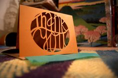 Handmade Papercut Thank You Card Circle by FlyingPaperAirplane, $6.50