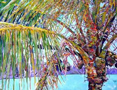 paintings of palms | Winter Solace by Kim Rody, acrylic painting on canvas 30 x 40 inches