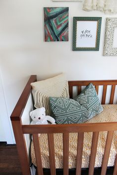 Baby girl nursery inspiration with mid-century two-toned crib #nursery