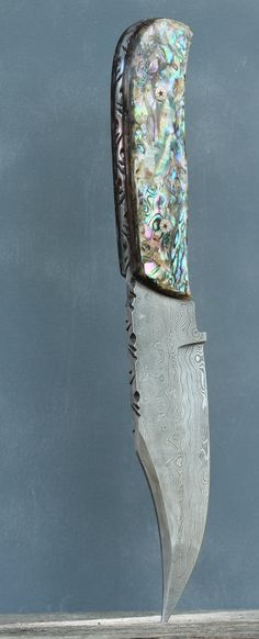 Abalone scales on a damascus steel bowie blade with mosaic pins SOLD