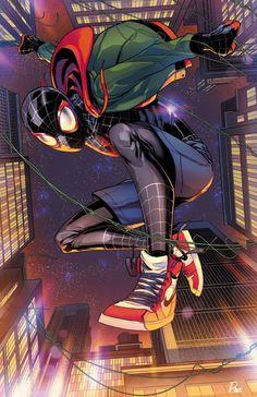 Miles in Jordans - Paris Alleyne Spiderman Kunst, Spiderman Spider, Amazing Spiderman, Spiderman Poses, Spiderman Marvel, Ultimate Spider Man, Marvel Art, Marvel Heroes, Captain Marvel
