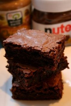 Nutella brownies: 1 C. unsalted butter 1 C Sugar 2 tsp vanilla extract 4 eggs C flour C. cocoa tsp baking powder 8 Tbsp PB 8 Tbsp nutella Preheat oven 350 degrees F Just Desserts, Delicious Desserts, Dessert Recipes, Yummy Food, Dessert Ideas, Yummy Treats, Sweet Treats, Gateaux Cake, Peanut Butter Brownies