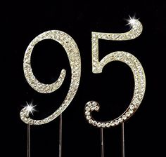 95th Birthday  Wedding Anniversary Number Cake Topper with Sparkling Rhinestone Crystals  275 Tall  Cake Decoration Jewelry *** Check out this great product by click affiliate link Amazon.com