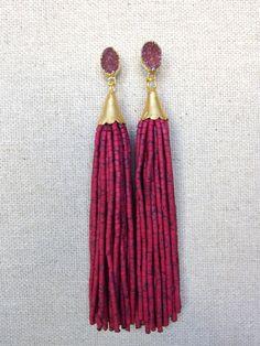 Druzy Stud Beaded Tassel Earrings