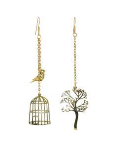 Bird Tree/Cage Earrings
