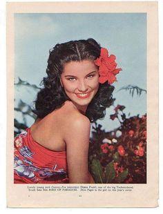 Inspiration: Vintage Hawaii Tiki.  Debra Paget pin up hawaii photo ad color