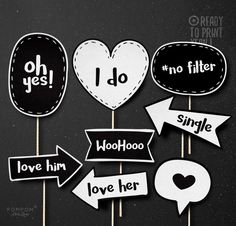 Photo booth props for weddings you can probably dyi and also make printable photo booth props wedding black and white printable props charcoal message props wedding decoration diy wedding printable solutioingenieria Image collections