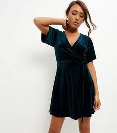 Dark Green Velvet Wrap Front Dress