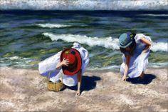 Sisters Art Print-Ocean Landscape by AlisaPaints