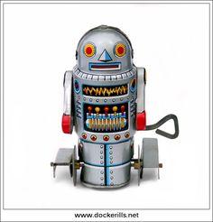 Robot-7, YONEYA/NOGUCHI, Japan. (Picture 1 of 2). Original Yoneya/Noguchi version with bent wire fixed key. Vintage Tin Litho Tin Plate Toy. Wind Up Mechanism. Photo in DOCKERILLS - TIN TOY REFERENCE - JAPAN - Google Photos