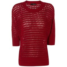 Jane Norman Mesh stitch batwing jumper featuring polyvore, fashion, clothing, tops, sweaters, knitwear, red, jane norman, jumper top, jane norman top, red top and round top