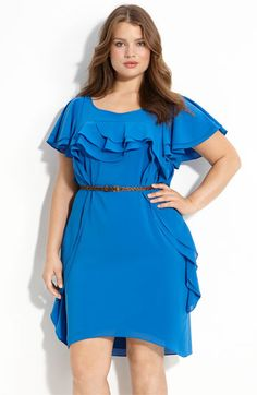 amazing blue ruffle plus size dress.