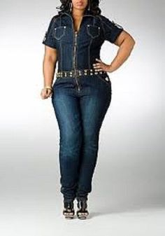 Dereon Plus Size Denim Jumpsuit Gold Studded Military Sleeve Cuff Plunge V-Neck Plus Size Denim Jumpsuit, Blue Jean Jumpsuit, Jeans Jumpsuit, Denim Overalls, 70s Outfits, Urban Outfits, Chic Outfits, Fashion Outfits, Fashionable Outfits