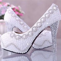 www.weddbook.com everything about wedding ♥ Amazing Rhinestones & Pearl High Heel Wedding Bridal Shoes #weddbook #wedding #shoes #fashion #sparkly