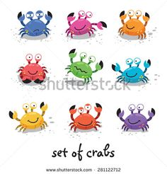 Illustration of a set of cartoon colorful crab characters with various expressions and emotions Doodle Images, Doodle Art, Crab Cartoon, Crab Art, Felt Fish, Funny Character, Fantasy Monster, Malu, Zentangle Patterns