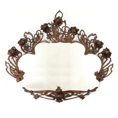 Large art nouveau mirror in carved wood - Large, richly carved wood, art nouveau [...], Design & Art Moderne à Marques Dos Santos