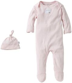 Burt's Bees Baby Solid Footed Coverall & Hat Set (Baby)-Blossom