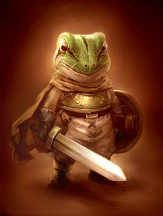 One of my first few AD characters back in 7th grade was a little anthropomorphic lizard named Drazil Mleh. The name alone had me and my Hbest friend at the time in hysterics while sitting in art class.  This reminds me of his, which I thought was a frog, which fit the odd fantasty world for this one particular adventure. 30+ years later and I still have the original character write-up and sketch. Chrono Trigger, Fantasy Races, Fantasy Rpg, Medieval Fantasy, Dungeons And Dragons Characters, Dnd Characters, Fantasy Characters, Fantasy Character Design, Character Art