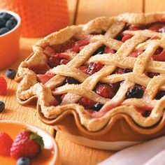 Five-Fruit Pie Recipe - strawberries, blueberries, blackberries, rhubarb, and apples.  A favorite for our family. :-)
