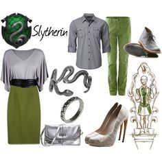The Slytherin house for the Pottormore release. Harry Potter Dress Up, Harry Potter Style, Harry Potter Outfits, Pottermore Slytherin, Slytherin House, Hogwarts, Fandom Fashion, Complete Outfits, Work Fashion