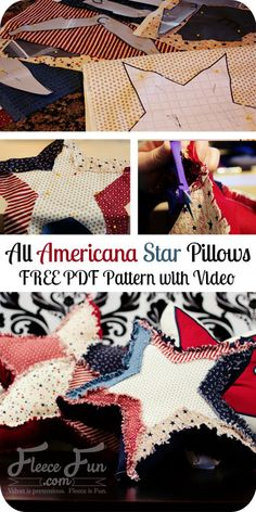 Free Patriotic All Americana Star Pillows - Free PDF Pattern with Video - from fleecefun.com