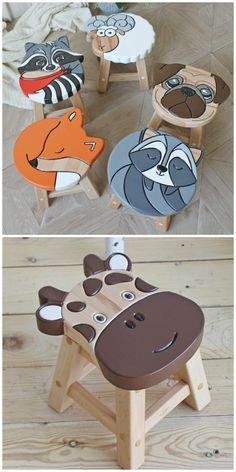 Children's Wooden Animal Stools - Cutest Ideas| The WHOot Diy Wooden Projects, Wooden Diy, Wood Crafts, Kids Furniture, Plywood Furniture, Modern Furniture, Furniture Design, Diy Stool, Wooden Animals