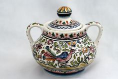 Sugar bowl from Coimbra, Portugal   hand-painted ceramic pottery   eBay
