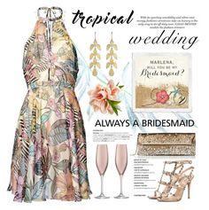 """Tropical Wedding"" by conch-lady ❤ liked on Polyvore featuring Valentino, Irene Neuwirth, LSA International, summerwedding, polyore, tropicalwedding and alwaysabridesmaid"