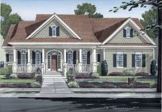 The Cecelia house plan is the epitome of refined country living. This beautiful one-level home features a stone and siding trim exterior with shakes, columns, and shutters that add a dash of color and texture.