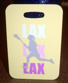 Lacrosse lover bag tag for a girl. These tags are made from reinforced plastic, with the image imprinted on it. The colors are vibrant and the finish is a high gloss. Excellent for gear bags or luggag