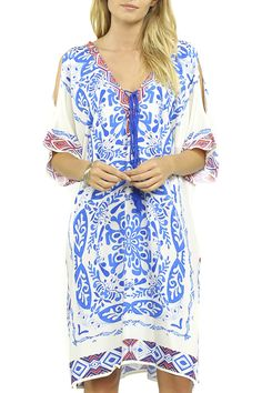 5634be4ee45 Del Mar Open Back Kaftan Dress - Ivory + Blue Lace Trim