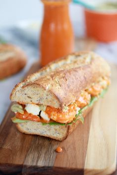 Grilled Buffalo Shrimp Sandwiches with Spicy Avocado Ranch  - pinner said: Made this for my Mother's Day dinner.  It was divine! One of the best sandwiches I have ever eaten.